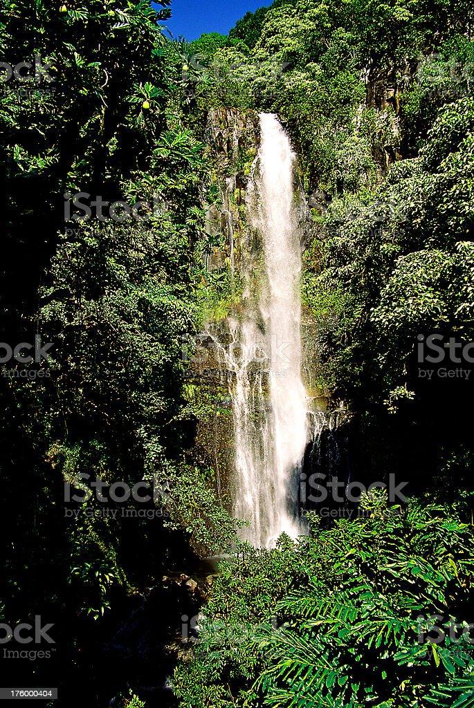 Hawaii Waterfall at Hana on Maui royalty-free stock photo