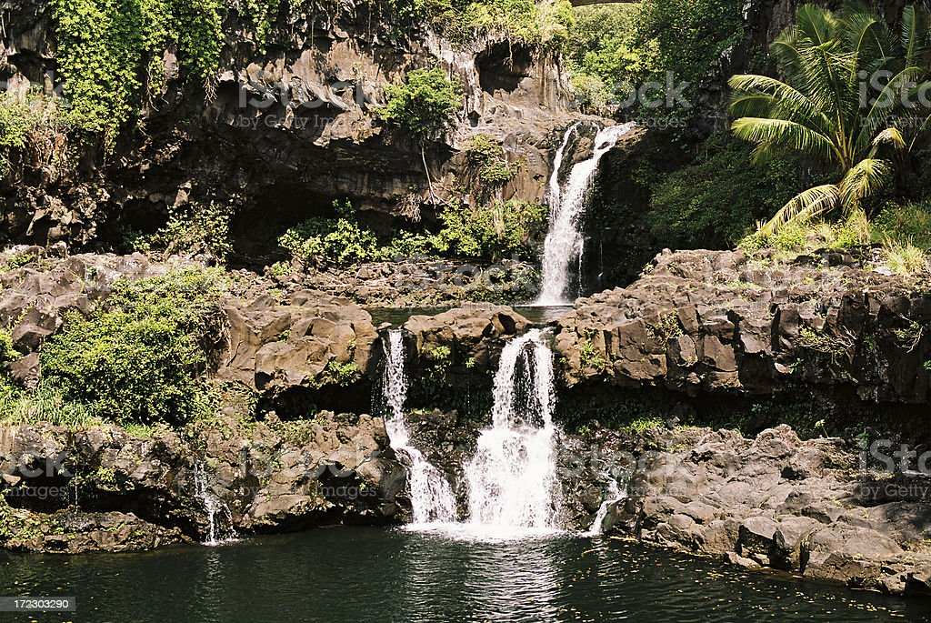 Hawaii waterfalls stock photo