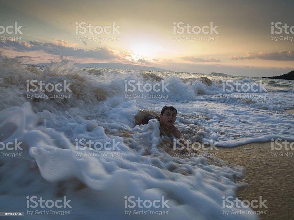 Hawaii Waves Washed Up Boy royalty-free stock photo