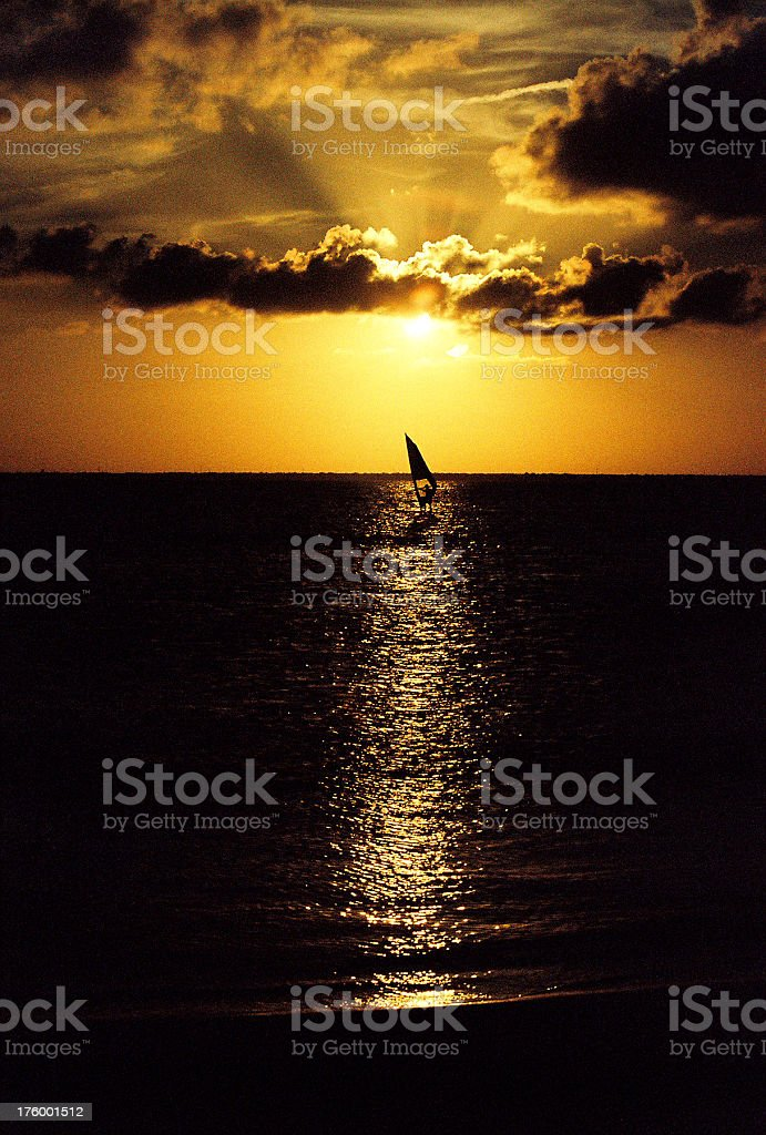Hawaii windsurfer at sunset royalty-free stock photo
