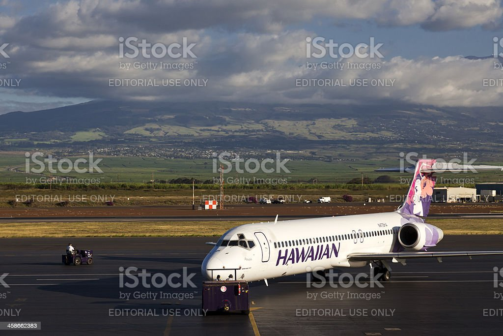 Hawaiian Airlines Jet in Maui stock photo
