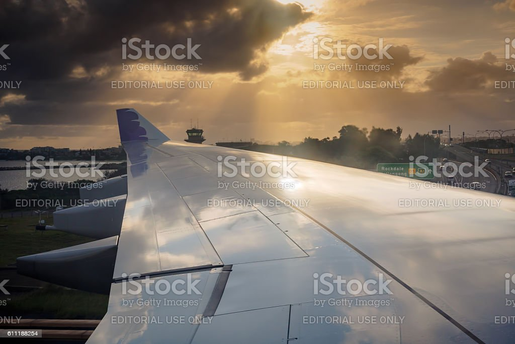 Hawaiian Airlines landed in Sydney, Australia - Taxiing stock photo