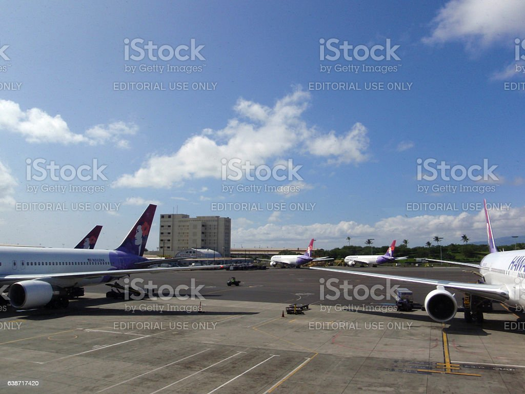 Hawaiian Airlines planes parked at Airport stock photo