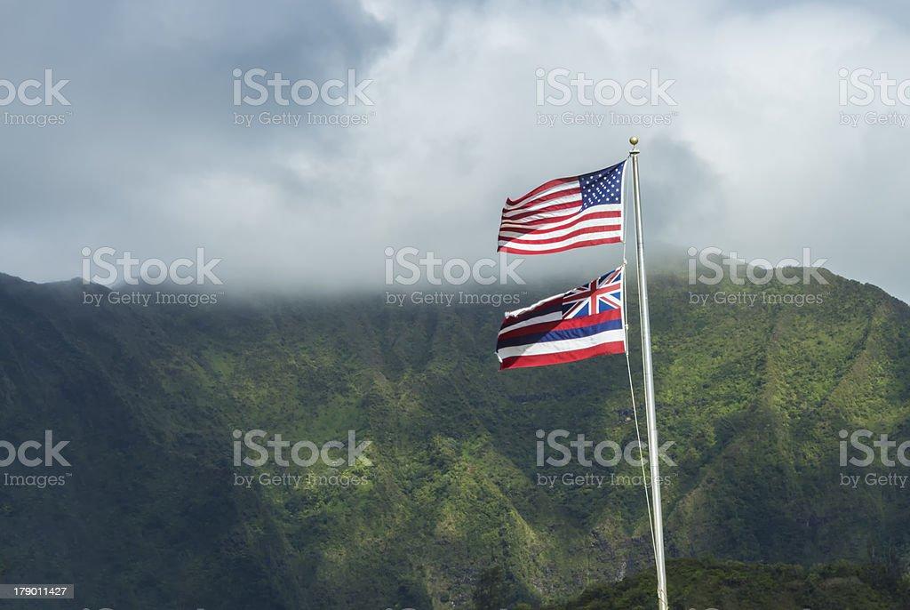 Hawaiian and American Flag royalty-free stock photo