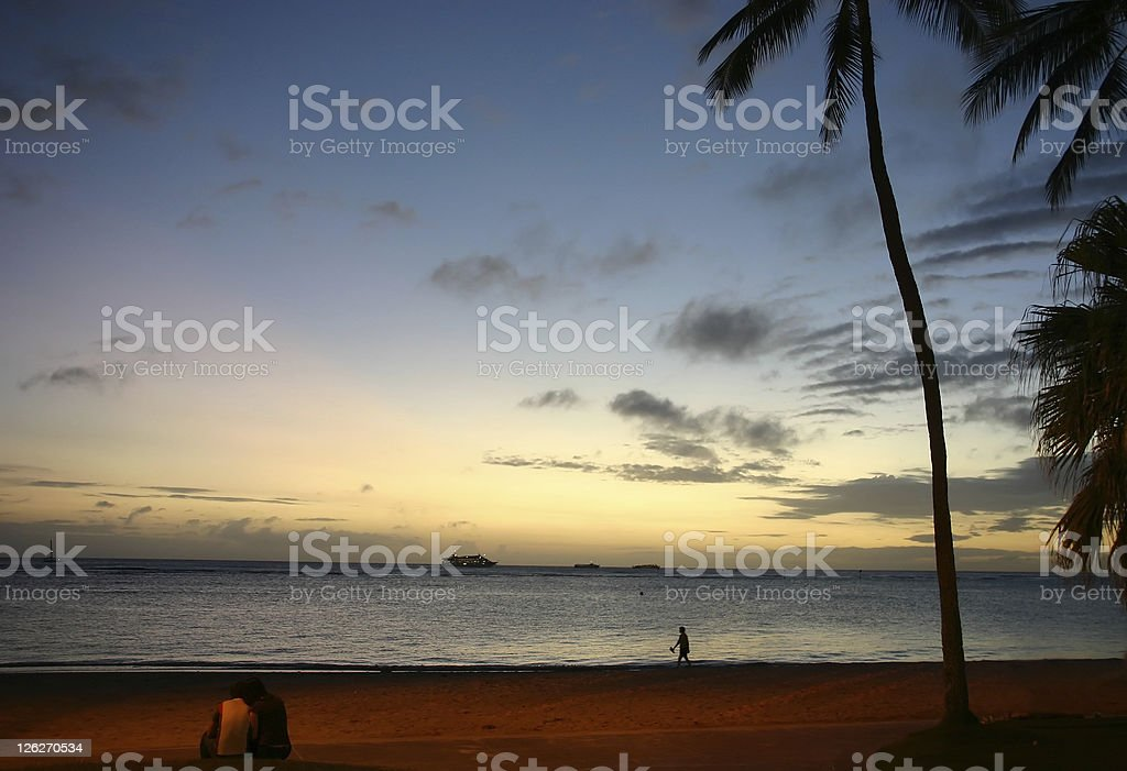 Hawaiian beach after sunset royalty-free stock photo