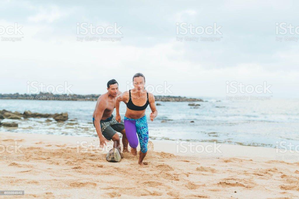 Hawaiian Beach Exercise stock photo