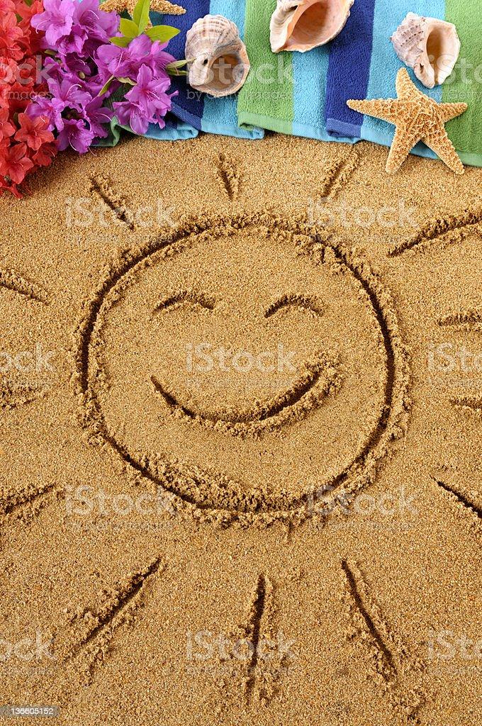 Hawaiian beach scene with smiling sun royalty-free stock photo