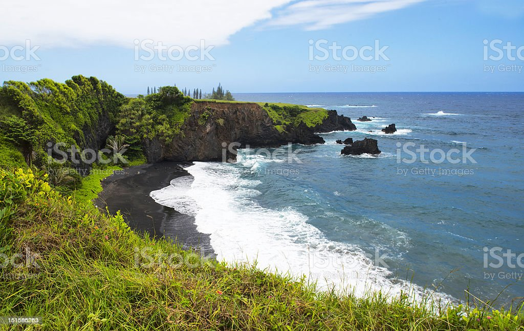 Hawaiian Black Sand Beach (XXL File) stock photo