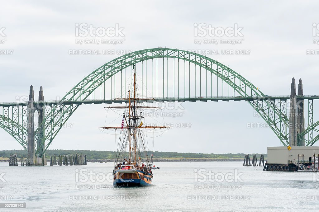 Hawaiian Cheiftain and Yaquina Bay Bridge stock photo