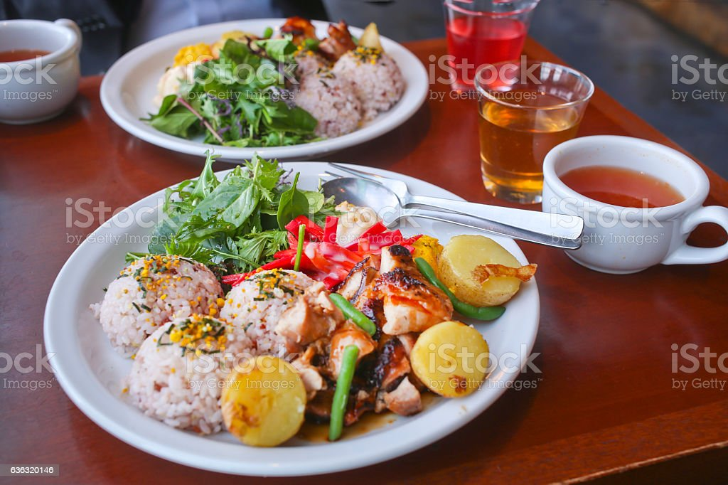 Hawaiian Chicken BBQ lunch plate stock photo
