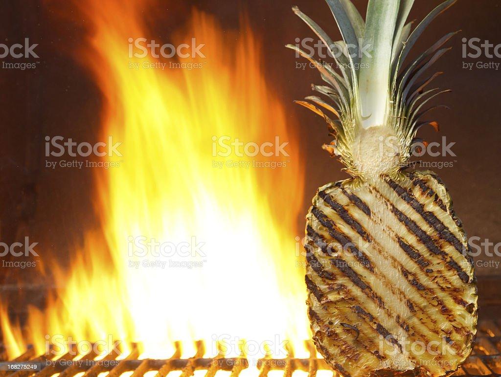 Hawaiian fruit on the grill stock photo