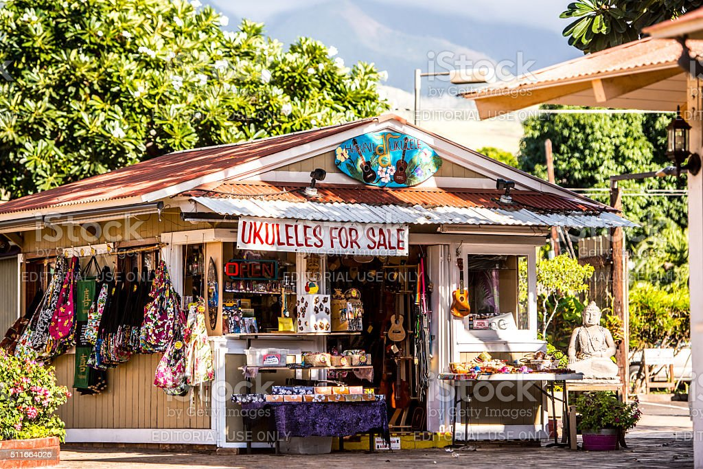 Hawaiian Gift Shop in Lahaina, Maui, USA stock photo