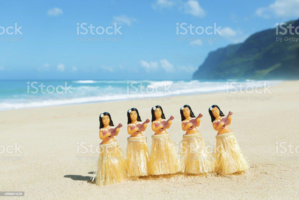 Hawaiian Hula Dancer Dancing on the Beach Horizontal royalty-free stock photo