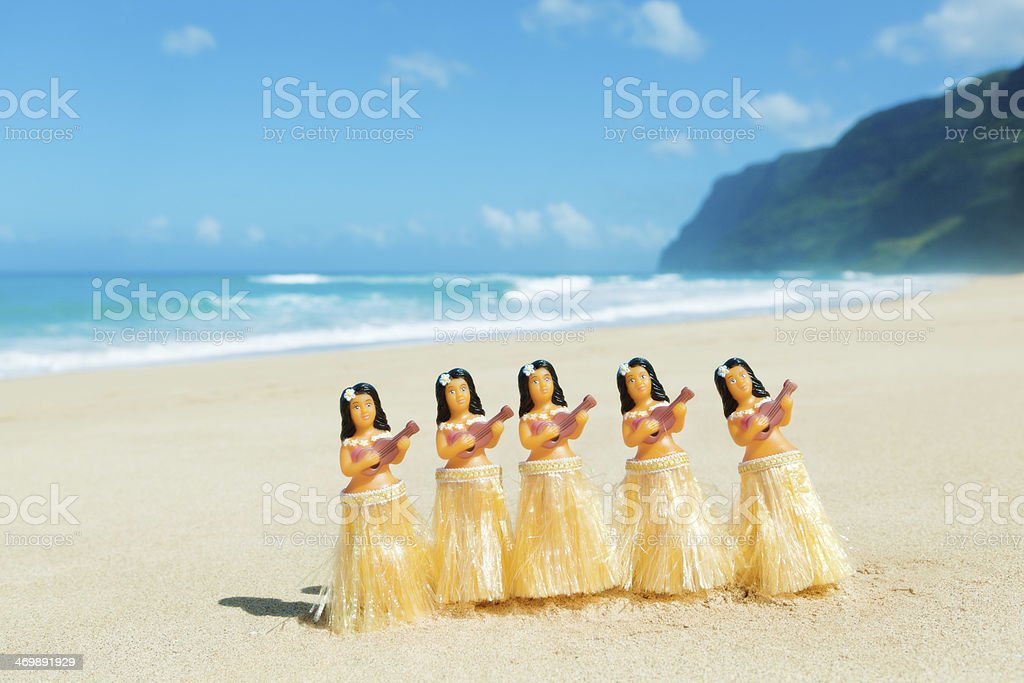 Hawaiian Hula Dancer Dancing on the Beach Horizontal stock photo