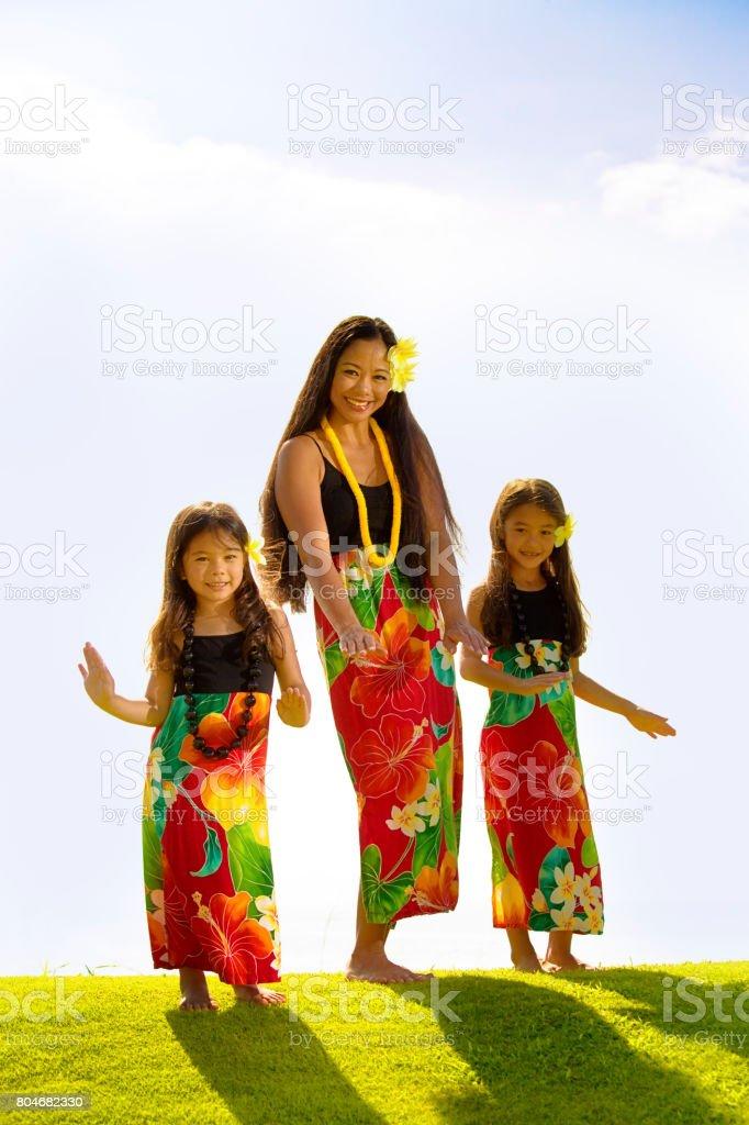 Hawaiian Hula Dancer Family with Children Dancing on Grass Lawn stock photo