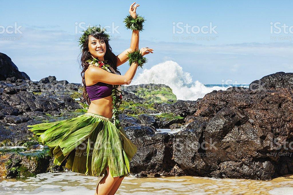 Hawaiian Hula Dancer on Beach stock photo