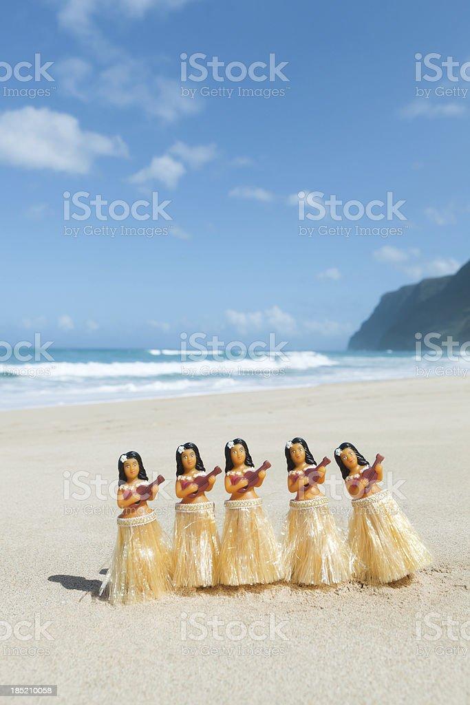 Hawaiian Hula Dancers Figurines Performing on the Beach Vt stock photo