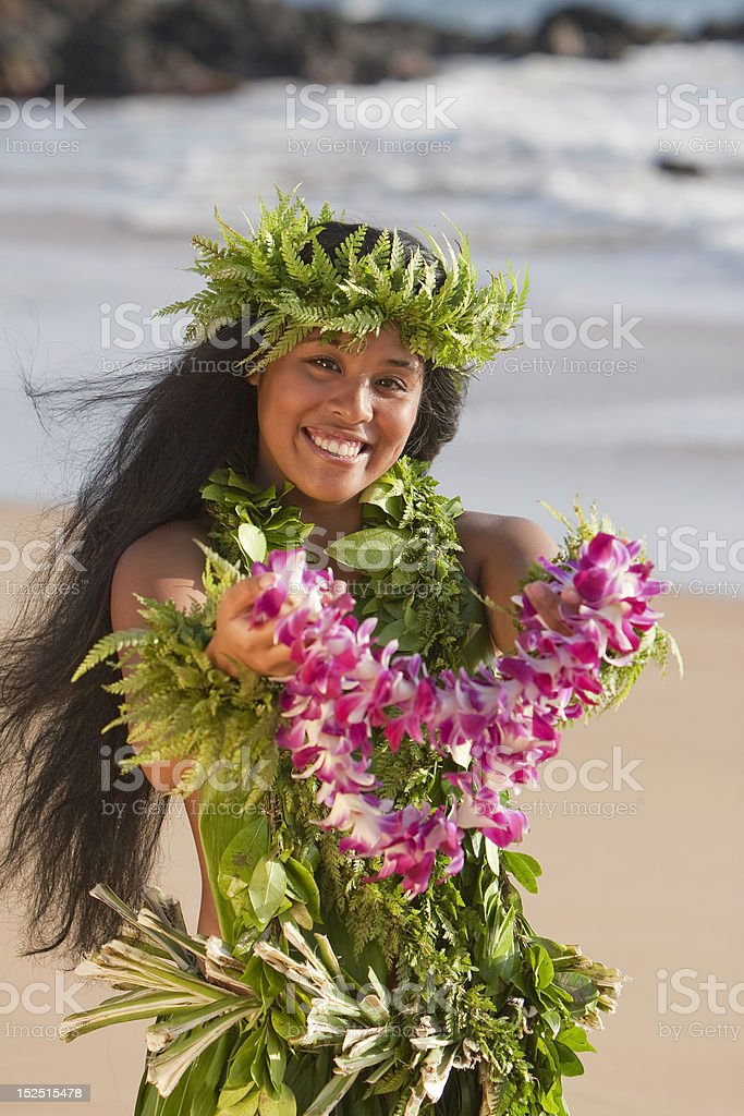 Hawaiian Hula Girl Offers a Flower Lei stock photo