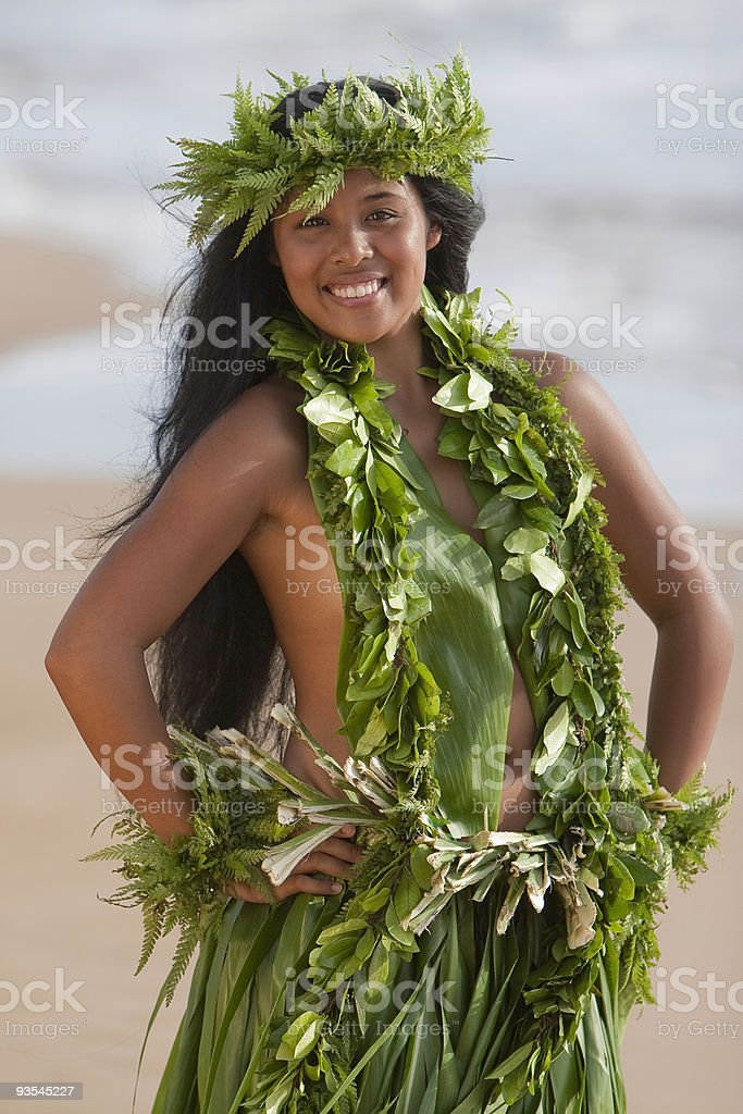Hawaiian Hula Girl on the Beach stock photo