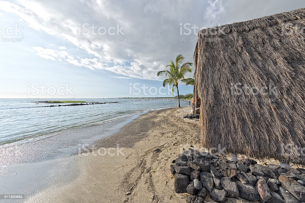 hawaiian hut on the beach on big island stock photo