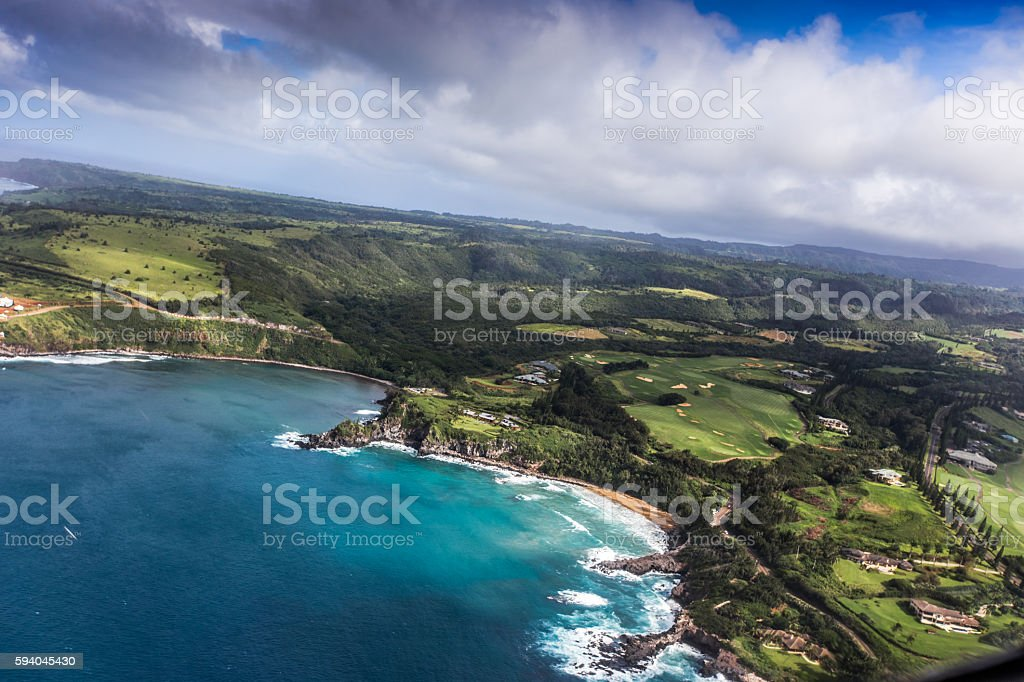 Hawaiian islands form the air, aerial shot stock photo