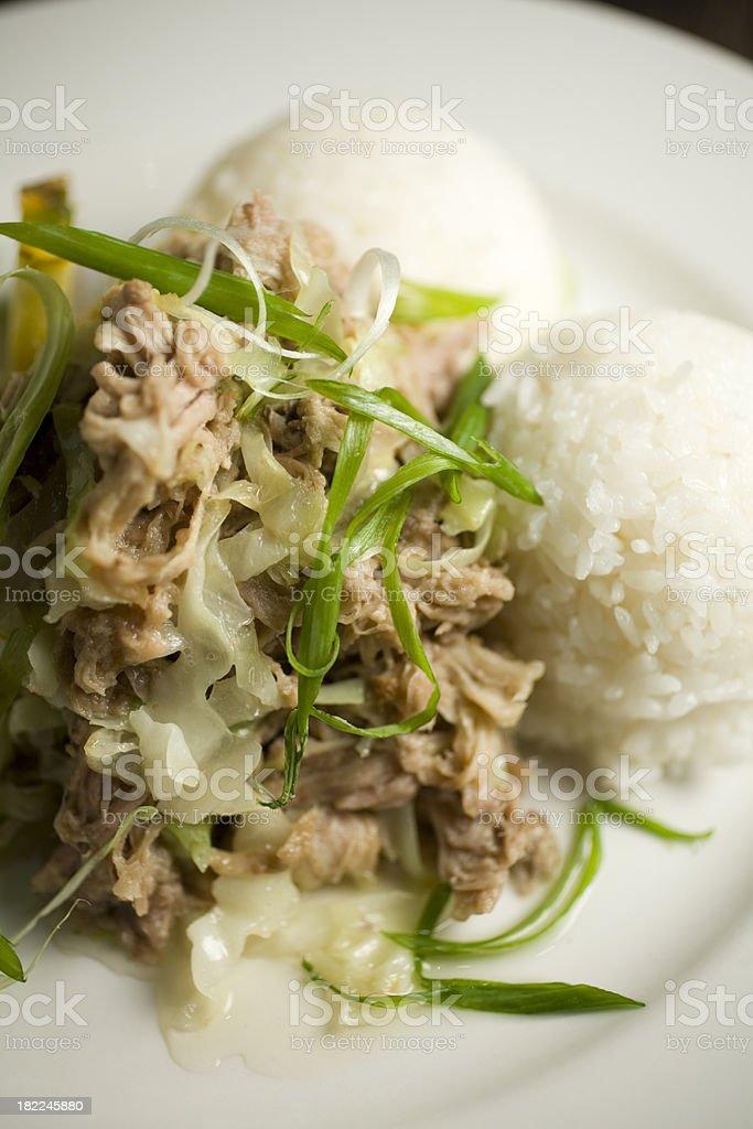 Hawaiian kalua pork and cabbage plate royalty-free stock photo