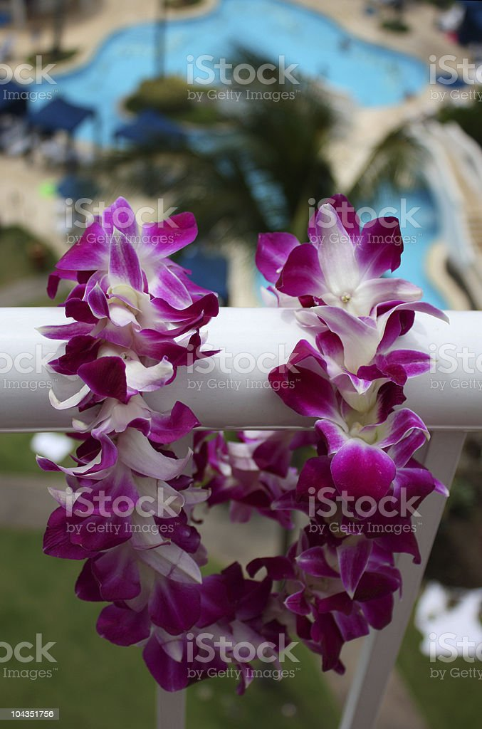 Hawaiian Lei on a Balcony stock photo