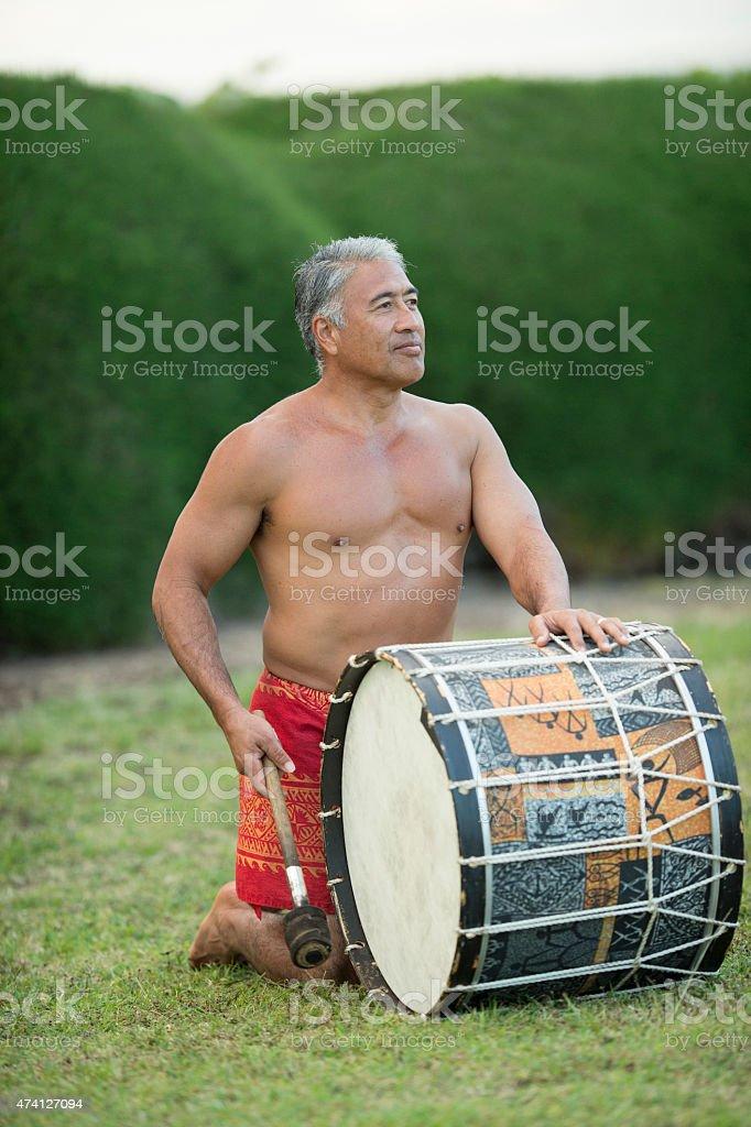 Hawaiian Luau Drummer stock photo