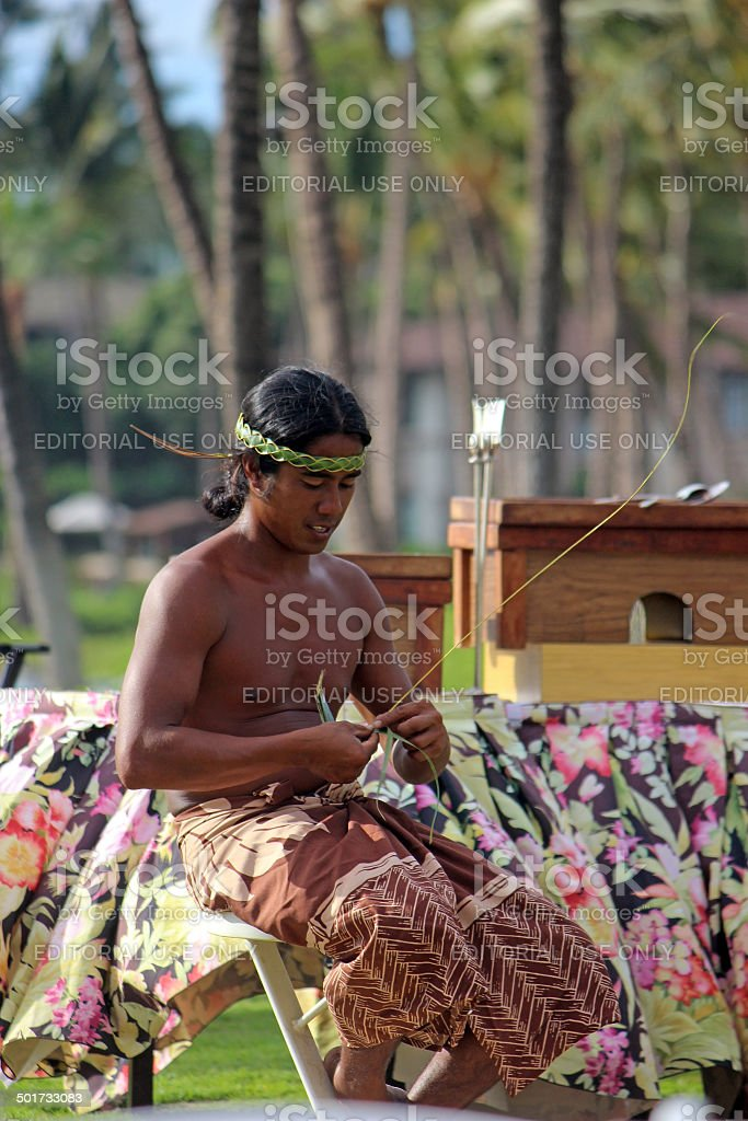 Hawaiian Palm Frond Weaving royalty-free stock photo