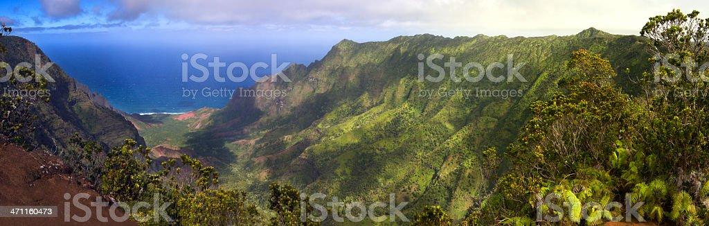 Hawaiian panoramic of the Kalalau Valley. stock photo