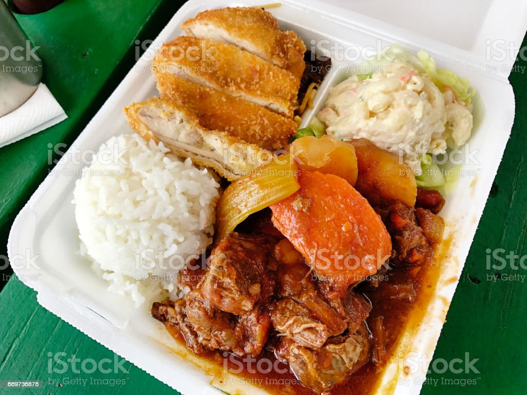 Hawaiian Plate Lunch, Local Specialty Fast Food stock photo