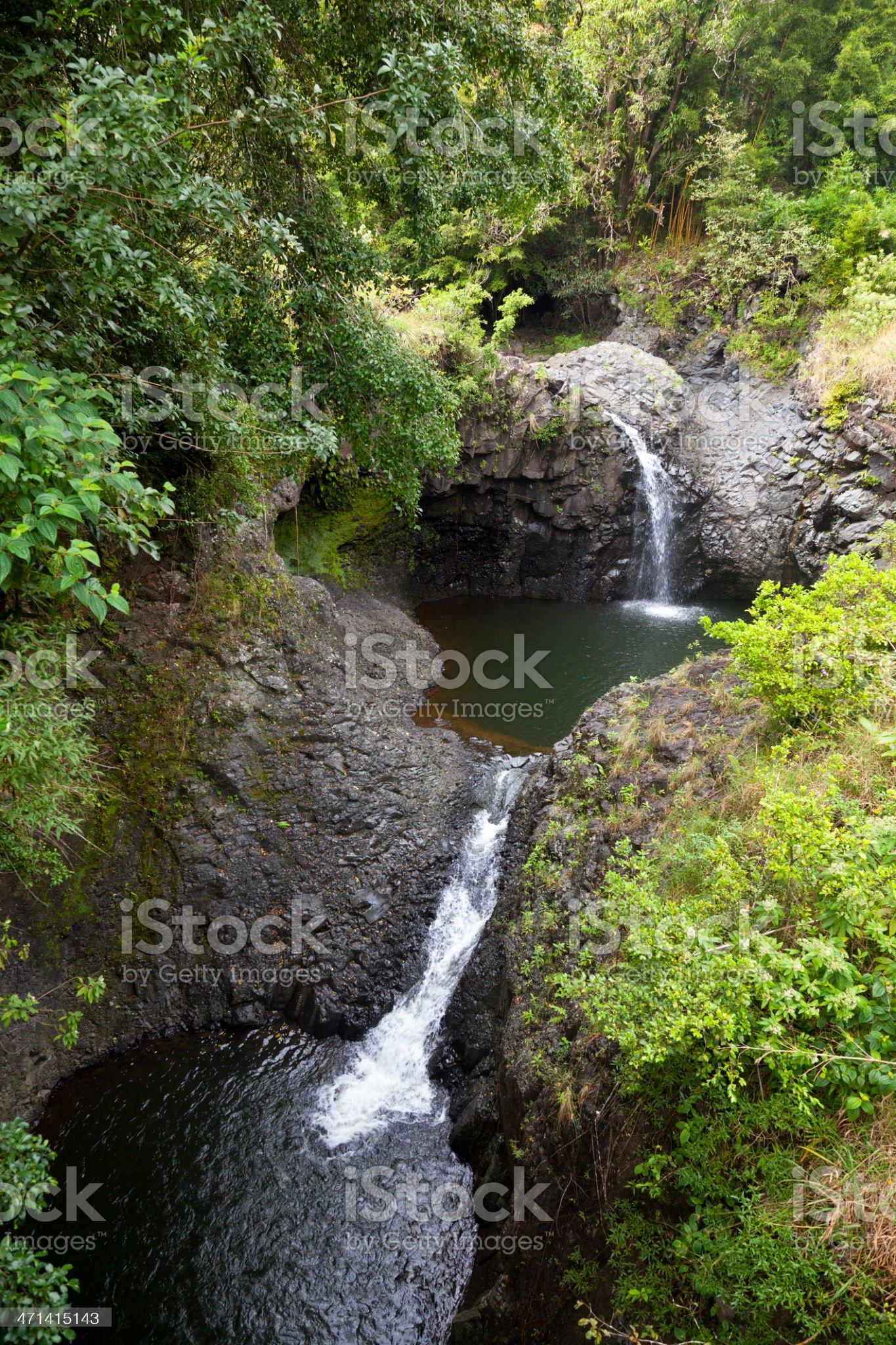 Hawaiian Rainforest Waterfalls, Maui royalty-free stock photo