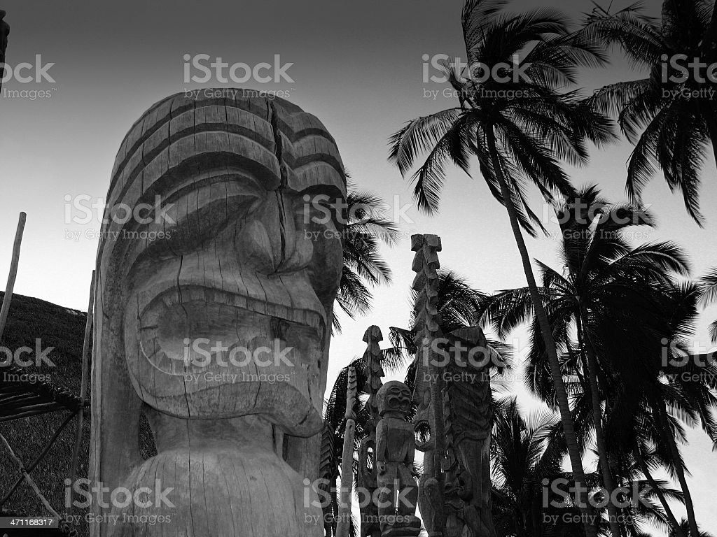 Hawaiian Sacred Idol black and white royalty-free stock photo