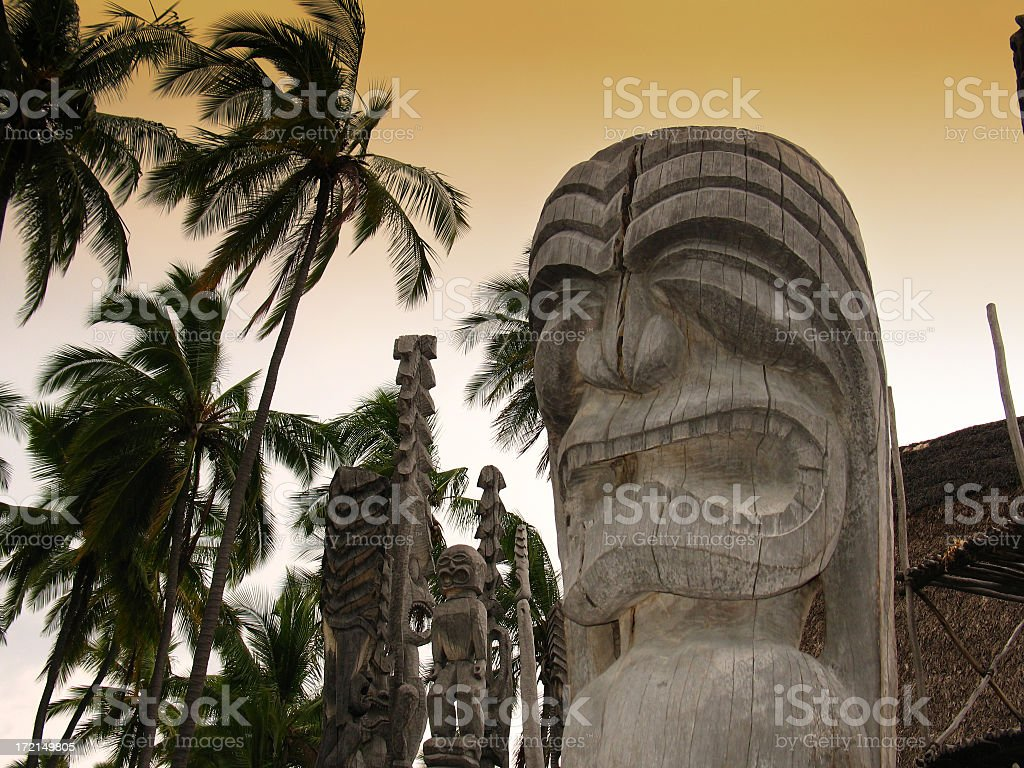 Hawaiian Sacred Idols royalty-free stock photo
