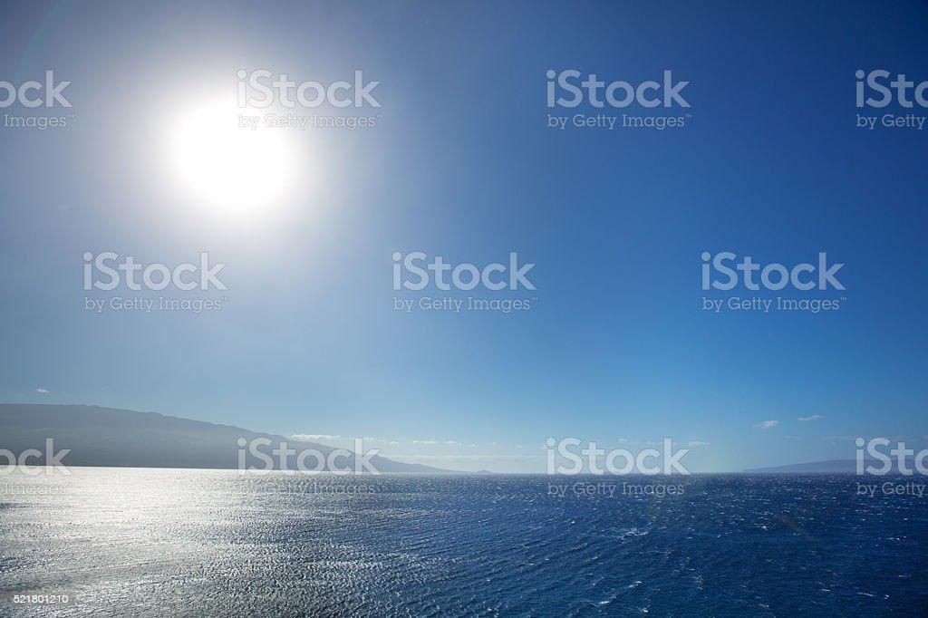 Hawaiian Seascape with Molokai and Lanai Islands on Horizon stock photo