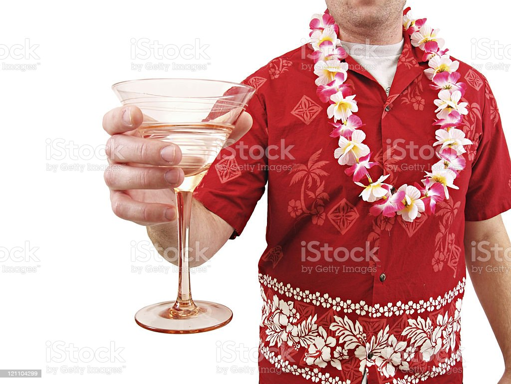 Hawaiian Shirt Lei and Drink royalty-free stock photo
