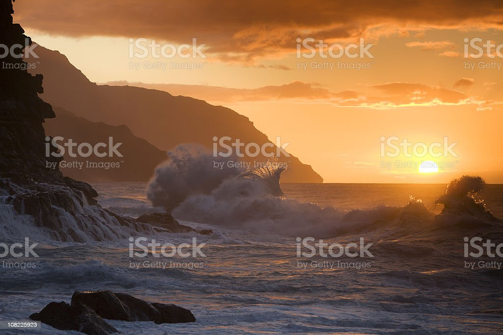 Hawaiian sunset at Ke'e beach. royalty-free stock photo