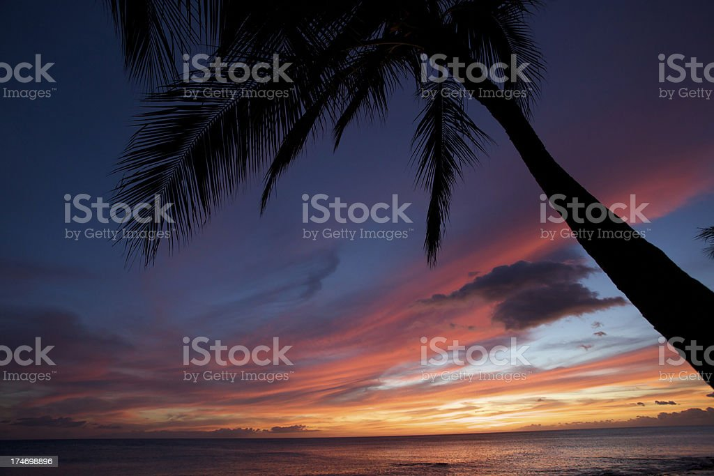 Hawaiian Sunset at Luau royalty-free stock photo