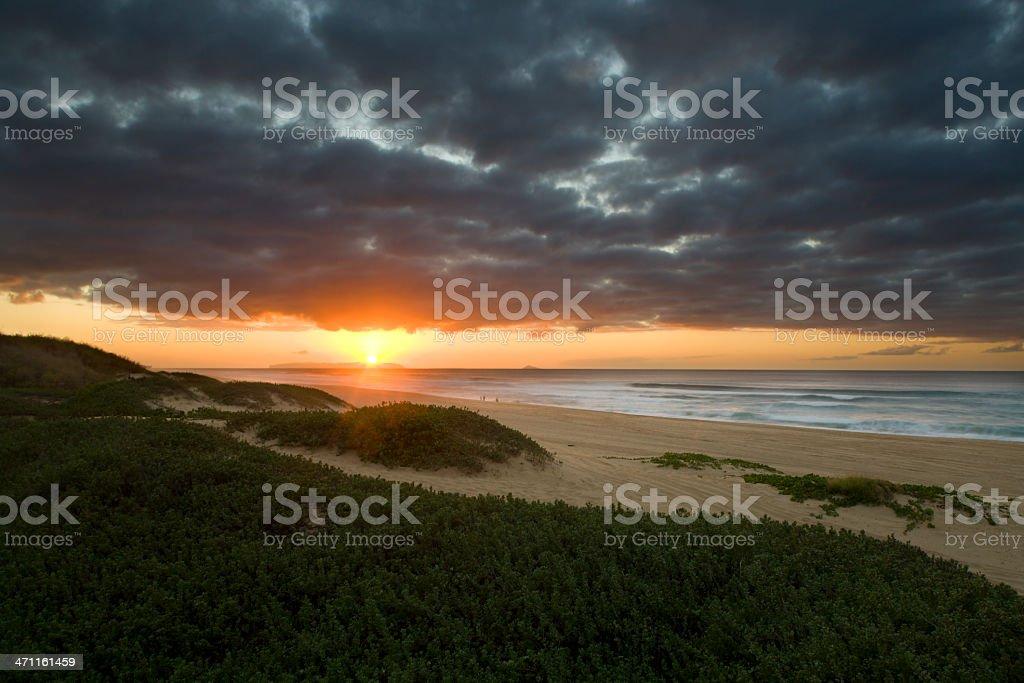 Hawaiian sunset at Polihale beach. royalty-free stock photo