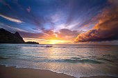 Hawaiian Sunset at Tunnels Beach, Kauai, Hawaii