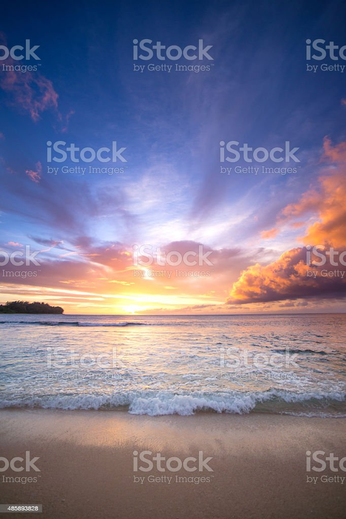 Hawaiian Sunset at Tunnels Beach, Kauai, Hawaii stock photo