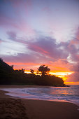 Hawaiian Sunset at Tunnels Beach, Kauai, Hawaii