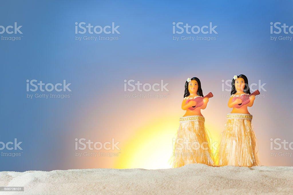 Hawaiian Sunset Hula Dancer Toy Figurines stock photo