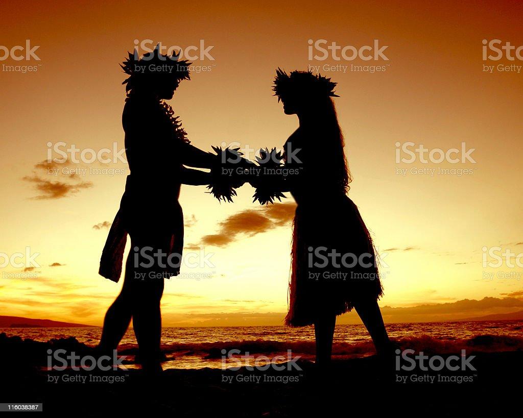 Hawaiian Sunset Lovers stock photo