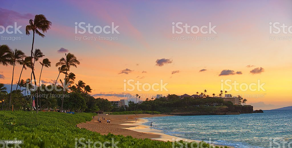 Hawaiian Sunset Panorama stock photo