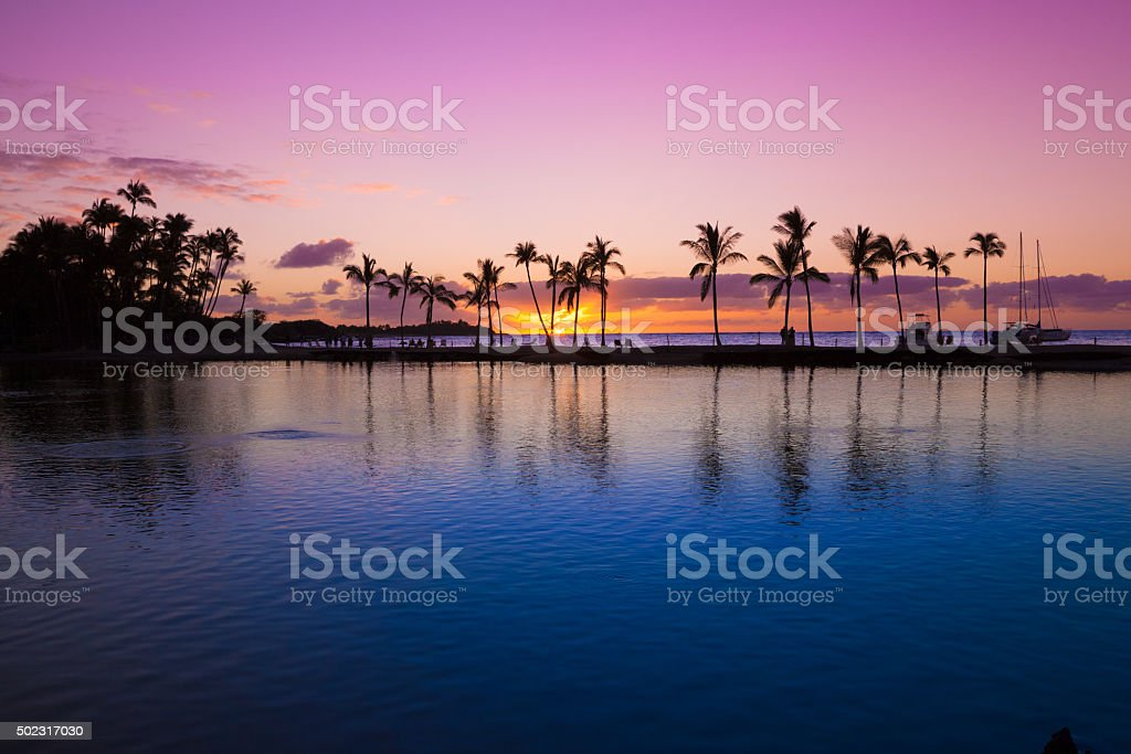 Hawaiian sunset stock photo