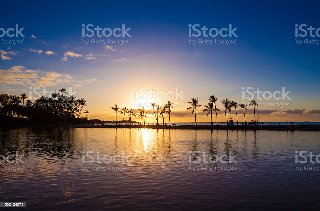 Hawaiian sunset stock photo