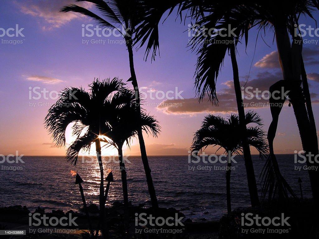 Hawaiian Tiki Torch Sunset, Maui stock photo