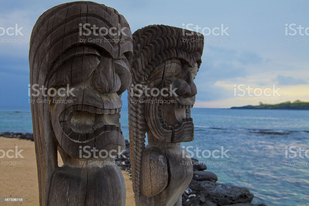 Hawaiian Tikis totem poles stock photo