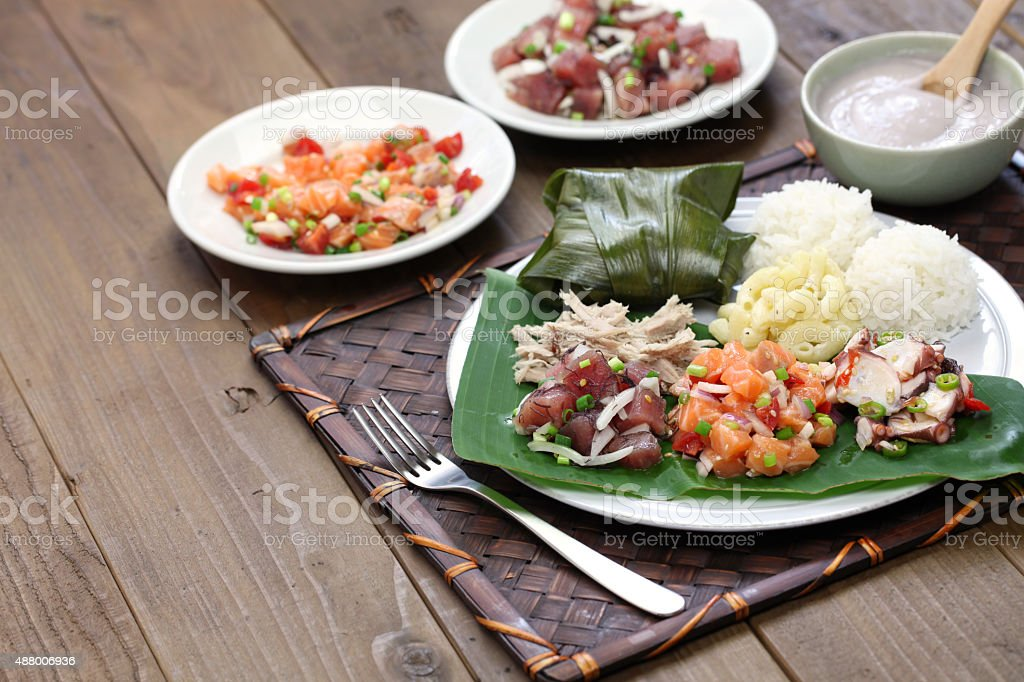 hawaiian traditional plate lunch stock photo